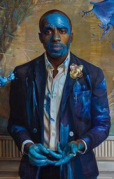 """""""Tangled Up in Blue"""" - Margaret Bowland (b. 1953, oil on linen {figurative art african-american black male standing man grunge texture painting} margaretbowland.com"""