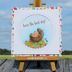 """Fall card with one of the cute and cheerful hedgehogs by Gerda Steiner Designs! More pictures, a list of supplies and a """"walk through"""" on how to make this card can be found on my blog ;o) Happy crafting!  maikreations"""