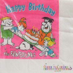 FLINTSTONES Happy Birthday LUNCH NAPKINS (30) ~ Vintage Party Supplies Dinner #HannaBarbera #BirthdayChild