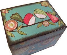Tea Box Decoupage Wooden Tea Box Tea Storage by GiftsAndTalents
