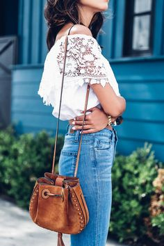 Crochet top & Chloe Inez tassel bag