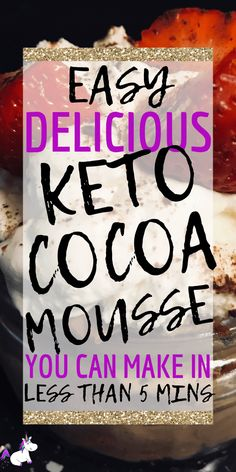 Keto chocolate mousse, perfect for when your chocolate cravings strike! This low-carb dessert uses only 4 ingredients & takes less than 5 minutes to whip up Low Carb Meal Plan, Low Carb Lunch, Low Carb Dinner Recipes, Low Carb Breakfast, Low Carb Desserts, Meal Recipes, Lunch Recipes, Paleo Recipes, Dessert Recipes