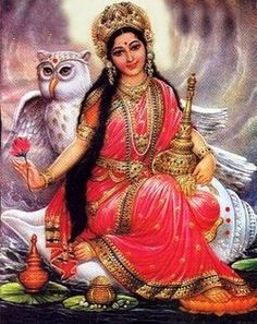 Goddess Lakshmi, Hindu goddess of wealth and prosperity rides an owl called Uluka.
