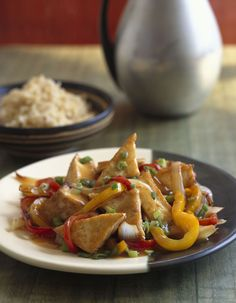 Sweet and sour tofu with peppers