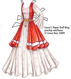 January 2009′s Gown with Snowdrop Embroidery and Garnets | Liana's Paper Dolls
