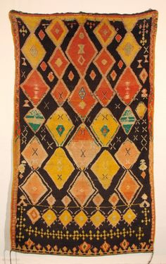Old Moroccan Berber carpet with powerful design and super colors on diamonds. wool on wool. cm 260x160. Mint condition