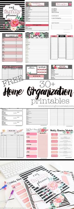 Beautiful floral home organizational printables you can get for free after signing the newsletter! printables to keep your home and life organized. Plus they are so pretty!