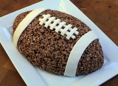 Football Cocoa Crispy Rice Treat - I bet you could substitute frosting for the fondant. A fun treat while studying Football Frenzy!