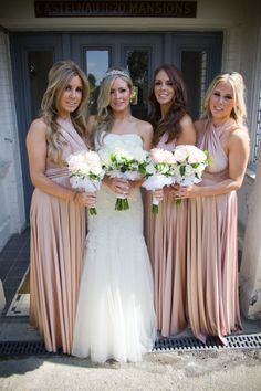 Julia & her maids looking beautiful in twobirds Rosewater ballgowns | twobirds bridesmaid dress | a real wedding featuring our multiway, convertible dresses