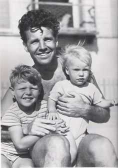 Ricky and David Nelson with their dad Ozzie - 1941