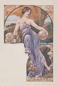 L'agape.1901. Series : woman with precious gems. Color lithograph on card stock. 14 x 8.9 cm. (3/10). Art by Ernest Louis Lessieux.(1848-1925).