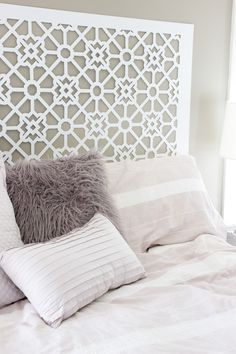 Our DIY headboard is either one of the silliest things I've ever done, or one of the most clever! I'll let you decide and taking votes in the comment section Girls Headboard, Diy Headboards, Homemade Headboards, Style Marocain, Headboard Designs, Headboard Ideas, Handmade Home, Teen Girl Bedrooms, Moroccan Style