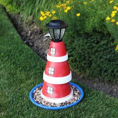 Flower Pot Lighthouse- I would probably do something other than an lighthouse, but I love this idea.