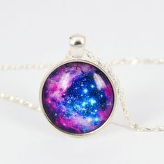 Galaxy Universe Moon & Stars Gemstone Pendant Necklace