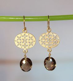 Smokey Quartz Lotus Charm Earrings  by Rachael Ryen jewelry on Etsy
