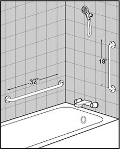 Shower Grab Bars Canada angled, grab bars, sloped grab bars, placement of shower grab bars