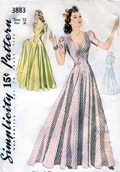 Vintage 1940s Pattern Simplicity 3883 Elegant Evening Dress Gown Rare. $70.00, via Etsy.