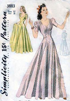 Vintage 1940s Pattern Simplicity 3883 Elegant Evening Dress Gown Rare. $70.00, via Etsy.