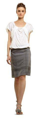 SHADOW PLAID SKIRT WITH PLEAT DETAILS $48.00