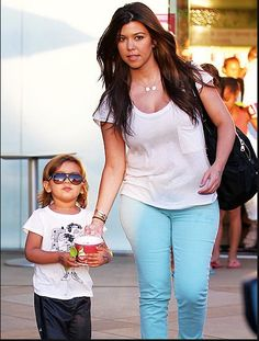 Sweet mom, Kourtney Kardashian, out and about with her little one in her Jennifer Meyer Letter Necklaces! Available at London Jewelers!