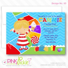 Candy Road Girl Invitation-personalized invitation, photo card, photo invitation, digital, party invitation, birthday, shower, announcement, printable, print, diy, candyland, sweets Personalised Party Invitations, Personalized Thank You Cards, Kids Birthday Party Invitations, Photo Invitations, Custom Invitations, Baby Shower Invitations, Candyland, Photo Cards, Announcement