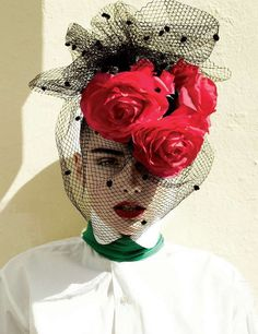 Red roses fascinator with black netting. Fru Fru, Wearing A Hat, Love Hat, Red Hats, Derby Hats, Headgear, Red Roses, Red Flowers, Flower Power