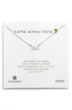Dogered 'Kappa Alpha Theta' Pendant Necklace