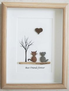 Pebble Art framed Picture Dog and Cat Best Friends forever