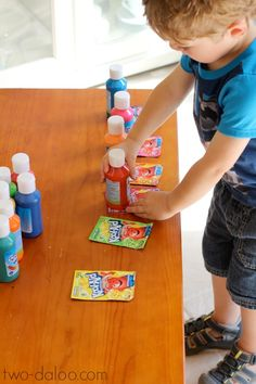 Create magic scented foaming paint with just two ingredients- tempera paint and Koolaid!