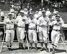 Joe Medwick, Ernie Lombardi, Mel Ott, Wally Berger, Jimmy Collins, at the 1936 All Star Game in Boston.