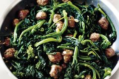 Broccoli Rabe with Sweet Italian Sausage Broccoli rabe hits all of the rich and dense notes of a green, but sometimes the bitterness is a little much. Fold in cooked sweet Italian sausage to make it a balanced side. Healthy Dessert Recipes, Raw Food Recipes, Food Network Recipes, Pasta Recipes, Cooking Recipes, Keto Recipes, Cake Recipes, Paleo Meals, Bacon Recipes