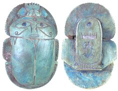 """Egyptian carved green limestone heart scarab, once placed on the throat, chest, or heart of the Mummy. Some were worn by the deceased on a necklace, or mounted in gold settings as a pectoral. Heart scarabs provided  assurance that at the final judgment as depicted in the Book of the Dead, the bearer would be found """"True of Voice"""" and accepted into the eternal afterlife by the God Osiris. With a double Eye of Horus on the top, a cartouche with beetle at the bottom.  Third Intermediate Period."""