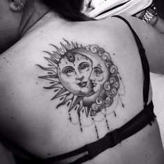 Check out Sun and moon tattoo or other sun and moon back tattoo designs that will blow your mind, tattoo ideas that will be your next inspiration. Moon Sun Tattoo, Sun Tattoos, Trendy Tattoos, Rose Tattoos, Body Art Tattoos, Small Tattoos, Sleeve Tattoos, Sun Moon, Celtic Tattoos