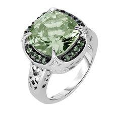 Phillip Gavriel Sterling Silver Cushion Cut Green Amethyst & Tsavorite Garnet Ri #PhillipGavriel #Halo