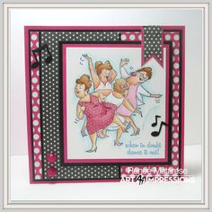 Art Impressions Rubber Stamps: Ai Girlfriends:  Dance It Out ... handmade thank you card for dance teacher. music notes