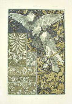 """Doves, Sweet Peas"" from Anton Seder Die Pflanze Art Nouveau Prints 1890"