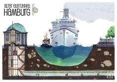 Illustration Hamburg Alter Elbtunnel