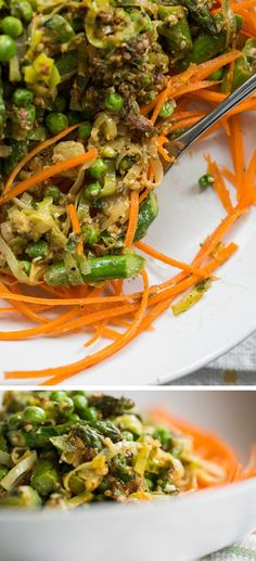 "Spring Green ""Pasta"" Primavera with sun dried tomato basil hemp pesto and carrot noodles, asparagus, peas, and leek"