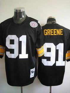 mitchell and ness pittsburgh steelers 91 kevin greene black stitched throwback nfl jersey 22.99