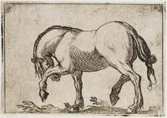 Pawing Horse Facing Left, Antonio Tempesta | Harvard Art Museums