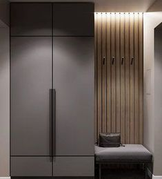 Industrial Modern: With the modern looking appliances and the vertical wood layo. Home Entrance Decor, House Entrance, Home Decor, Bedroom Cupboard Designs, Bedroom Closet Design, Wardrobe Door Designs, Wardrobe Doors, Armoire Entree, Mudroom