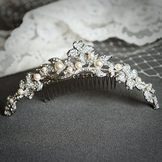 CORINNE, Victorian Bridal Tiara, Vintage Wedding Tiara, SWAROVSKI Rhinestone and Pearl Bridal Tiara