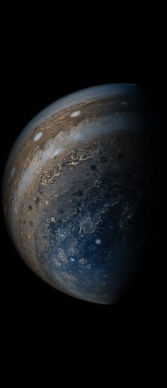 NASA's Juno spacecraft was racing away from Jupiter following its seventh close pass of the planet when JunoCam snapped this image on May 19, 2017, from about 29,100 miles (46,900 kilometers) above the cloud tops. The spacecraft was over 65.9 degrees south latitude, with a lovely view of the south polar region of the planet. Nasa Jupiter, Colorful Clouds, Juno Spacecraft, Above The Clouds, Scientists, Solar System, Planets, Racing, Colors