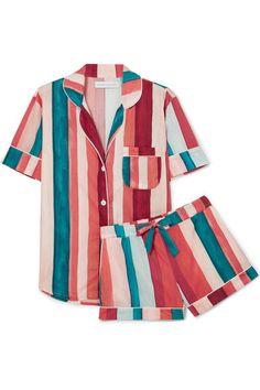 Desmond & Dempsey Striped Cotton-voile Pajama Set Antique rose - Pajama Sets - Ideas of Pajama Sets Satin Pyjama Set, Satin Pajamas, Pajama Set, Sleepwear Women, Loungewear, Pajamas For Teens, Pijamas Women, Tartan Pants, Cozy Pajamas