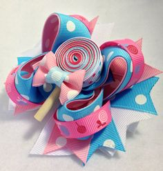 Bubblegum Hair Bow Girl Hairbow Clip by cococamila on Etsy, $10.00
