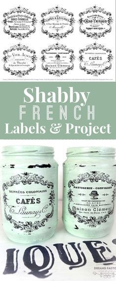 DIY Home Decor Shabby French Typography Labels and Printable! Graphics Fairy by Diana Dreams Factory. This is a gorgeous Printable with 6 French Labels that can be used on all sorts of DIY Home Decor Projects! Pretty French Jar project is included! Diy Vintage, Vintage Labels, Vintage Decor, Vintage Style, Graphics Fairy, Diy Home Decor Projects, Craft Projects, Decor Ideas, Jar Crafts