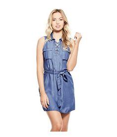Khloe Denim Lace-Up Shirtdress medium wash | Imbracaminte Femei Rochii | mycloset.ro