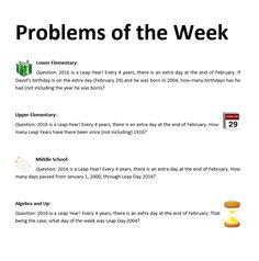 Problems of the Week - Feb 29