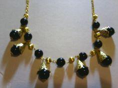 Black Glass Bead & Gold Fancy Necklace & Earring Jewelry Set