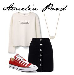 """""""Amelia Pond"""" by weasleysweaters ❤ liked on Polyvore featuring MANGO, Kendra Scott, Miss Selfridge and Converse"""